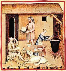 Preparazione del formaggio in un disegno del XIV secolo